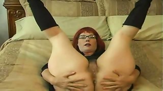 Glasses are sexy red unshaved mamma