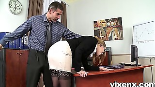 Bad secretary punished by flogging and anal-copulation sex