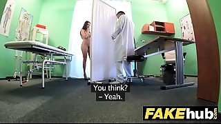 Fake Hospital Tall brunette hair patient with big natural love bubbles swallows docs cum