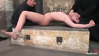 Devaun in her First Hogtied shoot suffersthough a real time, no cuts, no breaks, brutal..
