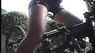 Japanese beauty masturbated during the time that riding a specially modified sex bike!