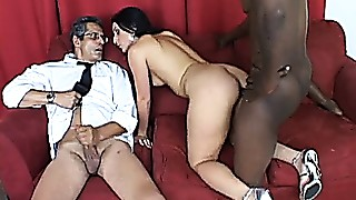 Husband beats his meat whilst wife Luscious Lopez acquires ra