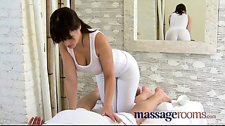 Massage Rooms Foot rub and oil sex with bigtitted masseuse