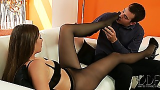 Connie Carter in ebony stockings