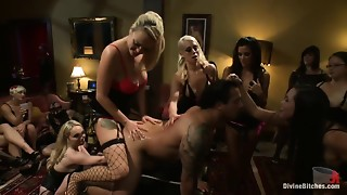 A group of dominating beauties fucking guy