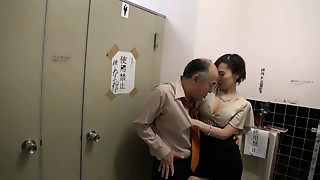 Asian playgirl having WC Sex with an aged guy