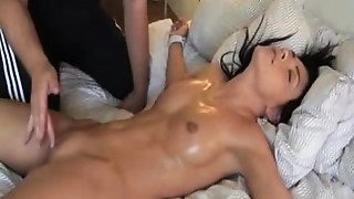 Fastened up cutie orgasms