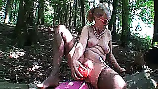 Monster fisting and sextoy fucking in public