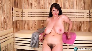 Vanessa enjoying her sauna session
