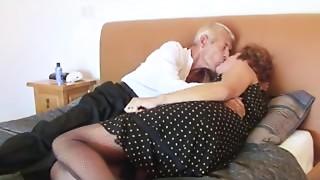 Fishnet Aged bitch Copulates Granddad