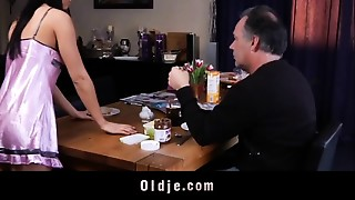 Youthful gals seducing and fucking old guys