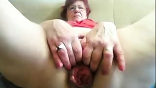 55yr old Granny Fucks Fist Prolapse her Vagina and Arse on Cam