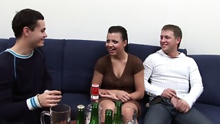 Lucie drunk and forced to bang with 2 jocks
