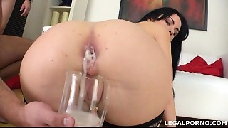 Pissing drinking Luna Oara First DAP with creampie, swallow and gapes GIO014