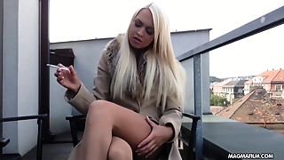 MAGMA FILM Busty golden-haired German playgirl rubs her gorgeous bawdy cleft