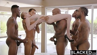 BLACKED Kendra Sunderland Huge black meat interracial GANGBANG!!