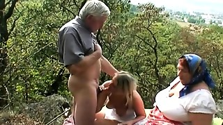 Older Couple With Sexy Blonde Outdoor Threeway Fucking