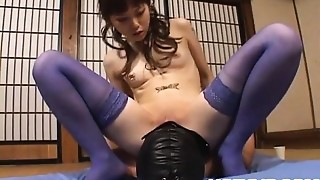 Tomoka Matsunami in lingerie rides masked man face with slit