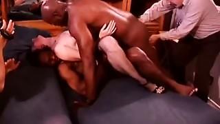 White Hotwife in a Room Full of Ebon Bulls