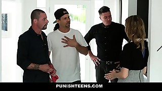 PunishTeens - Spoiled Brat gets Fucked By Daddy&#039_s Workers