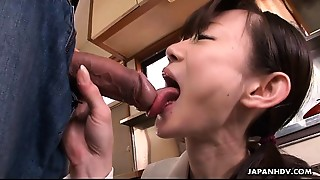 Oriental cuttie cleaning her brother&#039_s upright boner