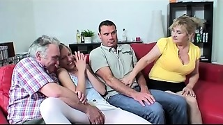 Foursome sex with busty grandmother