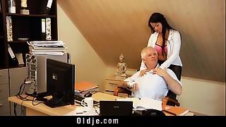 Ribald profesor fucks sweet 18 girl on his desk