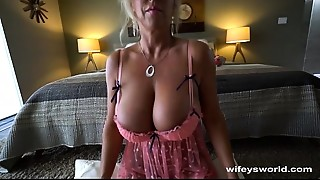 Wifey Strokes Giant Cum Shot Into Her Mouth