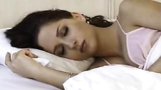 astonishing gal wake up and masturbates