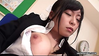 Big breasted teacher in the brake room toy fucks her wet snatch