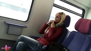 agreeable german woman sex on public transport