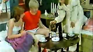 Brother's friend and girlfriend playing to the doctor when mama  comes-Retro