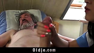 Young slut nurse Lady Dee fuck treatment for sick elder patient