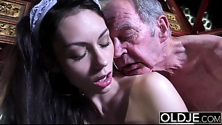 Grandfather copulates the hot maid fingers her young love tunnel and gets orall-service
