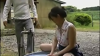 japanese aged housewife cheats with wild man in the warehouse