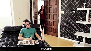 FILF - Lily Lane catches Stepson wanking to his stepmom