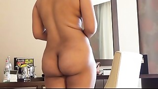 indian wife kajol in hotel full stripped show for husband