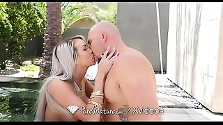 PureMature MILF Brooke Paige pool orall-service outdoors with ace fuck