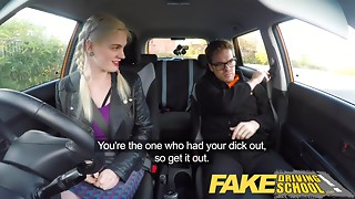 Fake Driving School student with large melons and curly cookie has creampie
