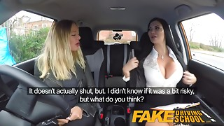 Fake Driving School lesbo sex with hawt Australian hottie and big breasted MILF