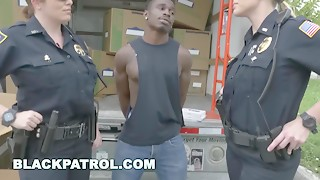 Ebony PATROL - Thug Receives Busted By Cougar Cops and Punished with Sex