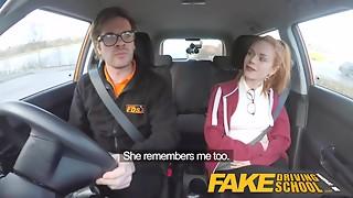 Fake Driving School Cute redhead Ella Hughes copulates and eats instructors cum