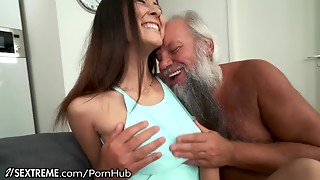 Old man Greets Teenie Paramour in His Towel...