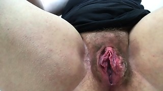 Juicy from watching porn so fingering shaggy rock hard slit to big O