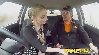 Fake Driving School Breasty Golden-haired Georgie Lyall acquires customer gratification