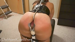 Cum Bitch is flogged, fisted, gaped and butt screwed