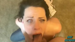 Hotty in Pigtails Acquires a Hard Gagging Coarse POV Face Bonk
