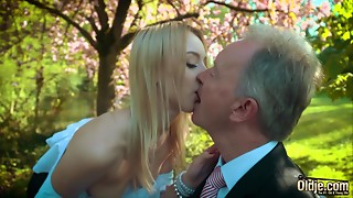 Juvenile blond groaning fucking an older dude that babe swallows his jizz flow
