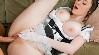 Excited French maid with flawless natural-tits has multiple orgasms