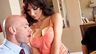 Concupiscent big breasted MILF Diana Prince copulates her son's college recruiter